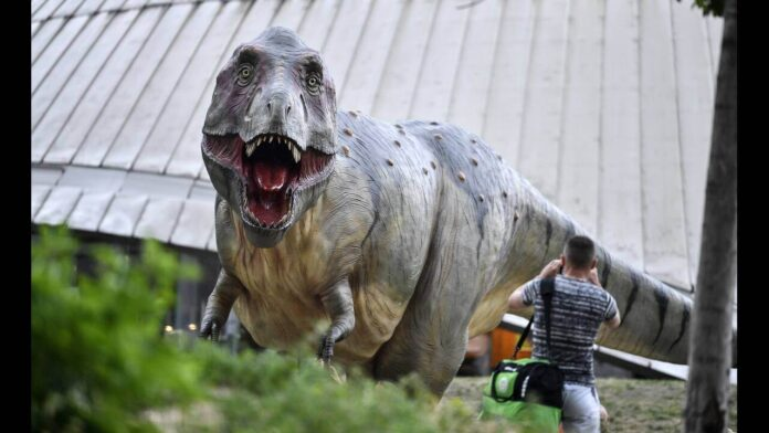 Ο Δεινόσαυρος Rex ποζάρει στην κάμερα